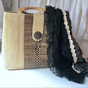 Handbags - Bali Handmade Woven Wood Handled Bag & Scarf